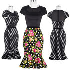 BP Retro Vintage Cotton Polka Dots Mermaid Bodycon Pencil Dress Pin Up Party New