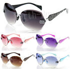 New Womens DG Eyewear Fashion Designer Rimless Sunglasses Round Oversized Retro