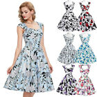 Ladies 50s 60s Dresses Floral Women Vintage Housewife Swing Party Evening Dress