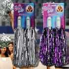 CHEERLEADING POM POMS PACK OF 2 GIRLS FANCY DRESS ACCESSORIES BATON STREAMERS