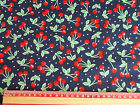 RED cherry / cherries on NAVY background / material 100% cotton  retro