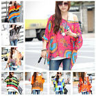Womens Loose Casual Batwing Sexy Chiffion Shirt Tops Blouse Ladies Tee