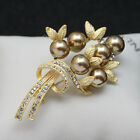 latest gifts - 2016 Latest Gold Silver Color Rhinestone Crystal Pearl Flower Brooch Pin Gift