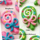 Kawaii Flat Back Resin Lollipop with Bow Cabochon Decoden Charm