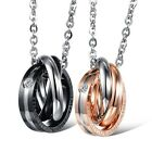 1pc Men Women Stainless Steel Crystal Interlocking Rings Love Pendant Necklace