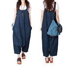 1x Women Loose Oversized Suspender Pants Jumpsuit Jeans Bib Overalls Baggy Harem