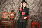 Vogue Chinese Women's Silk Embroidery Jcket /coat Black Sz:M L XL XXL XXXL