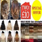 100% Natural Deluxe Clip in Hair Extensions One Piece 5 Clips Wavy Blonde Brown
