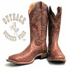 Boulet Men's Tan Brown Full Quill Wide Square Toe Boots 1503