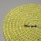 One Strand 8×6 mm Lemon Yellow Faceted Rondelle Glass Crystal Beads -CC712