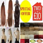 Hair Extensions Real Thick Half Full Head Clip in Straight Blonde Synthetic Hair