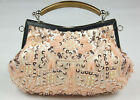 Champagne Pink Beaded Sequined Designer Art handle 2 Closures Evening Purse