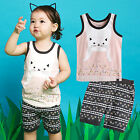 "NWT Vaenait Baby Kids Girls Boys Sleeveless Outfit Pajama set ""Super Cat"" 12M-7T"