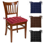 Set of 4 Reversible U-Shaped Chair Pads Ties Tufted Cotton Cushions Kitchen Seat