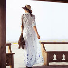 Women Sexy Polka Dot Summer Boho Evening Party Long Maxi Beach Chiffon Dress NEW