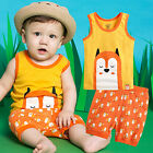 "NWT Vaenait Baby Kids Girls Boys Sleeveless Outfit Pajama set ""Cool Fox "" 12M-7T"