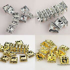 100pcs Silver/Gold Plated Square Rhinestone Crystal Spacer Beads 6x6/8x8/10x10mm