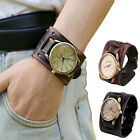 Vintage Men's Watches Big Wide Bracelet Leather Cuff Cool Dress Wrist Watch