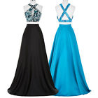 black Two-Piece Evening Dresses Sequins WEDDING Pageant Party Formal Prom Gown
