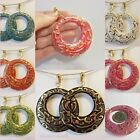 "CLIP ON 2-1/4"" Ornate Round Acrylic Go-Go Gold Plated Hoop Trendy Fun Earrings"