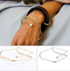 New Fashion Women Charm Jewelry Gold/Silver Plated Cuff Pearl Bracelet Bangle