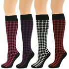 Womens ladies Comfortable Cotton Knee High Houndstooth Socks New Lot