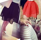 Fashion Women Casual Party Sheer Mesh Striped Pleated Short Skirt Bubble Skirt