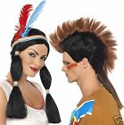 Smiffys Adult Couples Indian Princess Mohican Fancy Dress Costume Wig New