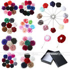 Mix Lapel Rose Flower Daisy Handmade Boutonniere Stick Brooch Pin Men Accessorie