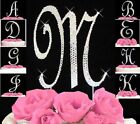 Silver Crystal Covered Monogram Letter Initial Wedding Cake Topper A-Z Initial
