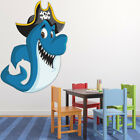 Pirate Shark Wall Sticker Pirate Animals Wall Decal Boys Kids Bedroom Home Decor