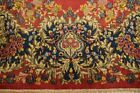 Red Open Field Handmade Rug 9' x 14' Semi-Antique Persian Kerman Collection Rug
