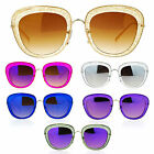 SA106 Womens Double Frame Gel Glitter Plastic Butterfly Sunglasses