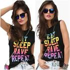New Women EAT SLEEP RAVE REPEAT Black Tank top Funny Neon Party Hip Hop Shirt S