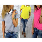 Fashion Womens Casual Celeb Chiffon short sleeve top T shirt blouse UK Size 8-14