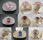 noblest 6*8mm white purple pink red blue zirconia 18 KGP wedding party ring