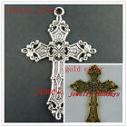 16/50pcs Silver/Gold Color Flower Cross Charms 57x37mm 8144