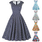 Womens Casual Evening Party Ladies Vintage Prom Floral Flared Swing Tea Dresses
