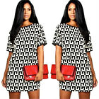 New Women's Summer Short-Sleeved Evening Party Cocktail Casual Short Mini Dress