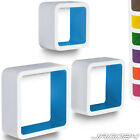 Set of 3 Wall Floating Cube Shelf Storage Display Organiser CD Choice of Colour