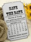 Personalised White Retro Calendar Wedding Save the Date Tags with Envelopes