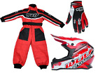 Kids red Wulfsport Wulf MX Motocross Set Quad Karting Suit, Gloves & Helmet