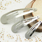 50pcs Girl Large Sliver Metal Hair Snap Clips Slides Accessories 40mm 50mm 60mm