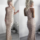 New Women Off Shoulder Sequined Tassel Slim Party Club Wedding Formal Long Dress
