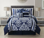 11 Piece Taylor Navy/White Bed in a Bag w/600TC Cotton Sheet Set