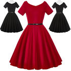 BP Retro Vintage Short Sleeve V-Neck Party Evening Dress Cocktail 50s Pinup Mini