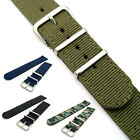 Tough Two-Piece Nylon Webbing Watch Band Stainless Steel Buckle and Keepers C045