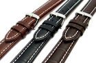 CONDOR Padded Crocodile Grain Calf Leather Watch Strap White Stitching 337R