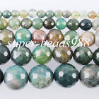 Aquatic agate Natural Gemstones Faceted Round Loose Beads 4 6 8 10mm 12mm SBG095