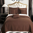 Chocolate Coverlet Set Luxury Microfiber Checkered Quilt 100% Polyester